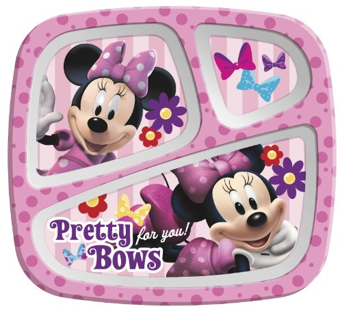 Zak Designs Minnie Mouse 3-Section Plate, Set of 6 - 1