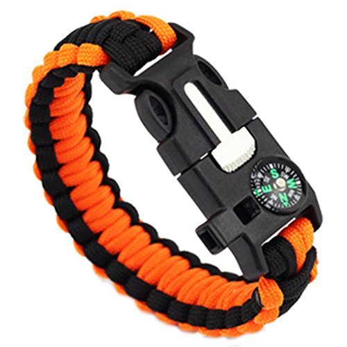 LEERYA 5in1 Outdoor rope Paracord Survival gear escape Bracelet Flint/Whistle/Compass (C)