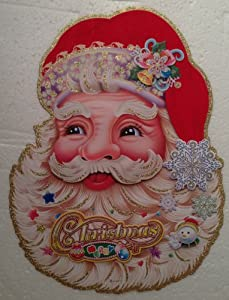 Three Dimensional FULL COLOR Window, Wall or Door Holiday 3D CHRISTMAS DECORATION Double Sided (SANTA CLAUS & SNOWFLAKE, 17 Inches Tall)