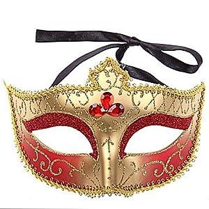 JJE Multicolor Golden with Three Diamonds PS Half Face Masquerade Mask , Black