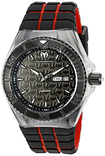 technomarine-mens-quartz-watch-with-black-dial-analogue-display-and-red-silicone-strap-tm-115184