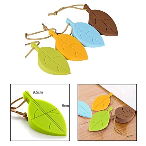 Merlion Silicone Door Stopper Wedge Finger Protector,Cute Colorful Cartoon Leaf Style Flexible Window Door Stops-Baby Child Kid Finger Hand Safety Stop Guard Set-4PCS