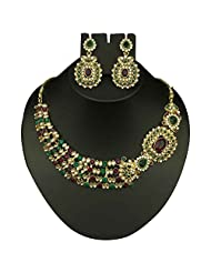 Gold Plated Austrian Stone Kundan Purple & Green Necklace Set - 2103004