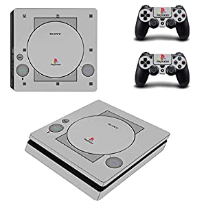 SKINOWN® PS4 S Slim Skin Full Body Grey Sticker Vinly Decal for Sony PlayStation 4 S Slim Console and Controller