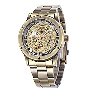 GBI Men's Noble Retro Stainless Steel Automatic Mechanical Wrist Watches-Bronze