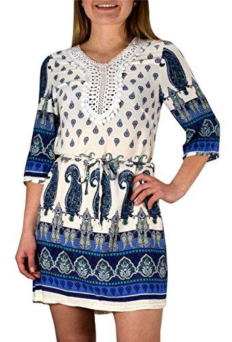 Peach Couture Mandala and Paisley Print Petite Tunic Dresses White Blue Paisley X-Large