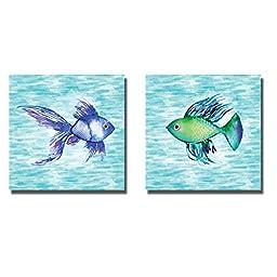 Deep Sea Green Fish & Deep Sea Blue Fish by Sara Berrenson 2-pc Premium Gallery-Wrapped Canvas Giclee Art Set (Ready-to-Hang)