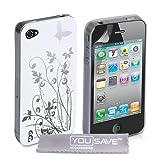 Yousave Accessories Etui avec protecteur �cran pour iPhone 4 / 4S Blanc / Argent Papillonpar Yousave Accessories