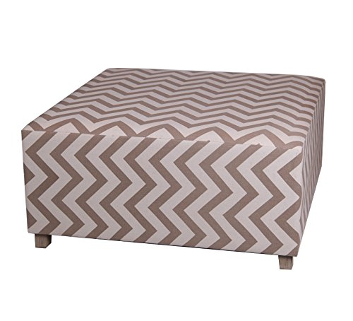 Privilege 68112 Square Ottoman, 36-Inches, Chevron, Beige/Off-White - 1