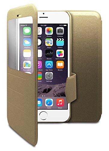 """Zeit sichtbar Kunstleder Flip Magnetverschluss Case Schutzhülle Hülle Tasche für Apple iPhone 6 (4.7"""") - Gold"""