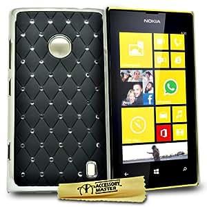 Accessory Master Housse rigide pour Nokia Lumia 520 Motif Strass de Diamant/Fleur Conception Noir