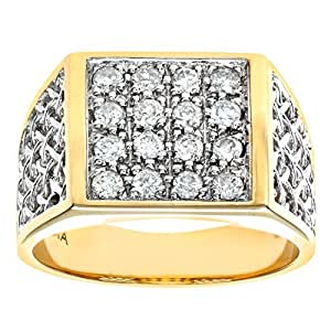 Bague Homme - Or jaune (9 carats) 5.9 Gr - Diamant 0.5 Cts - T 53
