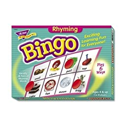 Trend Enterprises Rhyming Bingo Game,Includes 36 Playing Cards/Over200 Chips - Trend Enterprises Rhyming Bingo Game,Includes 36 Playing Cards/Over200 Chipsrhyming Bingo Games Teach 28 Pairs Of Rhymin