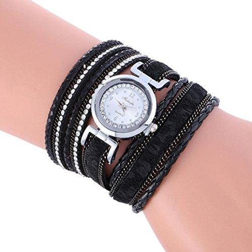 AMA(TM) Women Vintage Wrap Around Weave Leather Bracelet Quartz Wrist Watch (Black) (Vintage Sale compare prices)