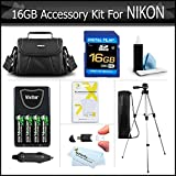 16GB Essential Accessory Package For Nikon Coolpix L330, L120, L110, L100, L310, L810, L820, L620, L830, L840 Digital Camera Includes 16GB Memory, Case, Tripod, 4 AA High Capacity NIMH Rechargeable Batteries + Rapid Charger + Much More