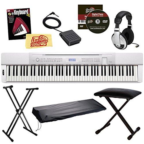 Casio Privia Px-350 88-Key Digital Piano Bundle With Gearlux Jx-90 Bench, Gearlux Jx-52 Stand, Gearlux Dust Cover, Cherub Wtb-004 Sustain Pedal, Samson Hp-10 Headphones, Hal Leonard Instructional Book, And Austin Bazaar Polishing Cloth - White