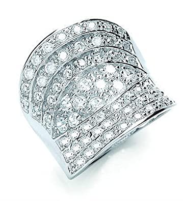 Rhodium Finish Sterling Silver Pave Concaved Cubic Zirconia Ring