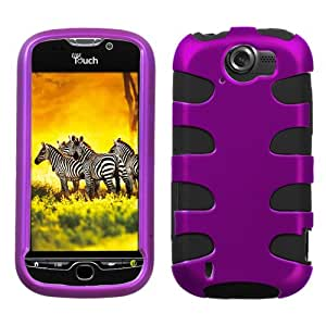 Titanium Purple/Black Fishbone Phone Protector Faceplate Cover For HTC myTouch 4G Slide