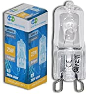 2 x G9 25w Clear Halogen Lamps Light Bulbs 240v from Long Life Lamp Company