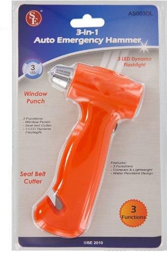 3 In 1 Dynamo Auto Emergency Flashlight Hammer Window Punch