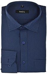Basil Men's Formal Shirt (BA320PRW21FSF, Blue, 42)