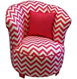 Newco Kids Tulip Chevron Chair with Piping and Pillows, Candy Pink