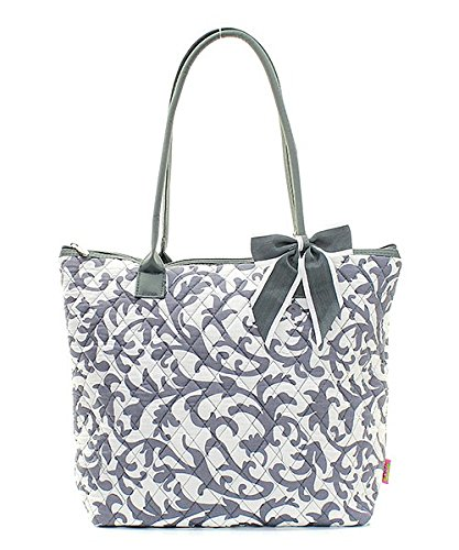 Handbag Inc Quilted Print Small Tote Bag with Bow Accent Grey