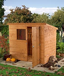 Coledale 6 39 x 4 39 shiplap pent wooden garden shed amazon for Garden shed 6 x 4