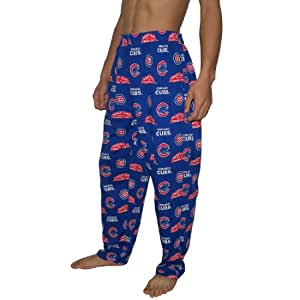 Mens MLB Chicago Cubs Cotton Thermal Sleepwear / Pajama Pants - Blue & Red (Size: XL)
