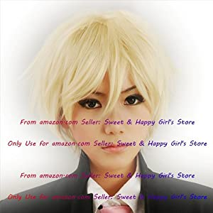 NEW fashion HOT sexy Blonde Straight Anime cosplay wigs party Masquerade girls 30CM
