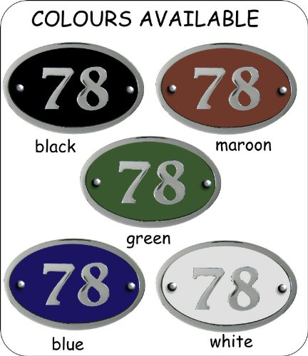 Modern chrome house number oval - 1 to 999 available