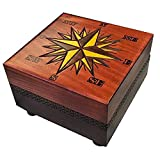 Small Compass Chartography Nautical Star Linden Wood Box with Secret Legs Opening