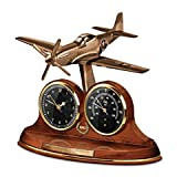 Tabletop Clock: P-51 Mustang 70th Anniversary Thermometer Tabletop Clock by The Bradford Exchange