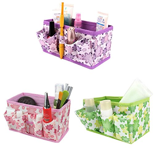 Sunward Fashion Makeup Cosmetic Storage Box Bag Bright Organiser Foldable Stationary Container Color:Random color