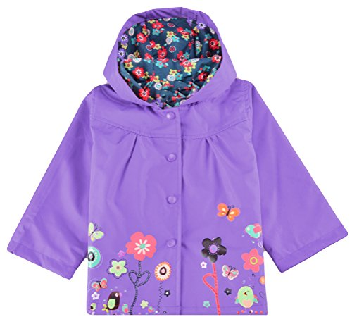 Halife Little Girls' Floral Rain Jacket Raincoat with Hood (5 Colors and 5 Sizes Available) (5t Girls Rain Jacket compare prices)