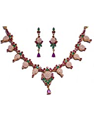 Beautiful Necklace Set, Studded With Pearl Ruby & Emerald Color Stones