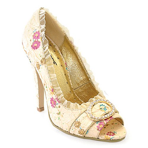 Ellie Shoes - 418-Tori, 4  Decorative Fabric Peep-Toe With Rhinestones in 4 Colors and Sizes 5-12