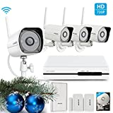 Zmodo All-in-One Wireless Outdoor Indoor Smart Home Security Camera 4CH NVR System 1TB Hard Drive with Zmodo Beam and 2 Pack Door/Window Sensors