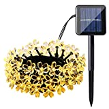 Qedertek Cherry Blossom Solar String Lights, 23ft 50 LED Waterproof Outdoor Decoration Lighting for Indoor/Outdoor, Patio, Lawn, Garden, Christmas, and Holiday Festivals ( Warm white)