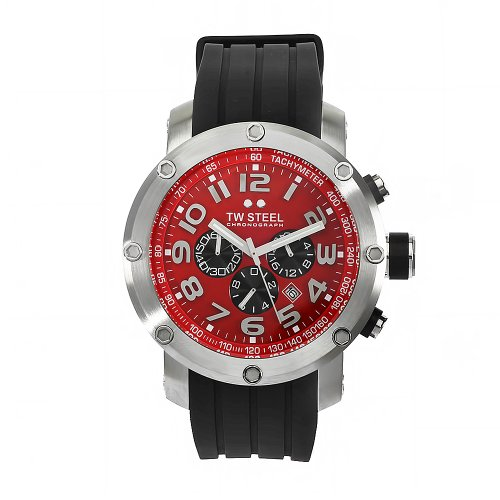 TW Steel Unisex Quartz Watch with Red Dial Chronograph Display and Black Rubber Strap TW125