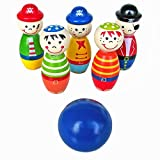Bowling Ball ,BeautyVanChildren Toys Wooden Bowling Ball Skittle Funny Shape for Kids Game