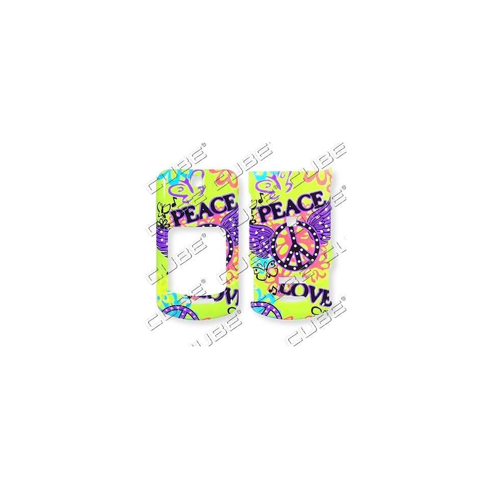 MOTOROLA VE465 Peace Love Green Graffiti Design   Hard Case/Cover/Faceplate/Snap On/Housing