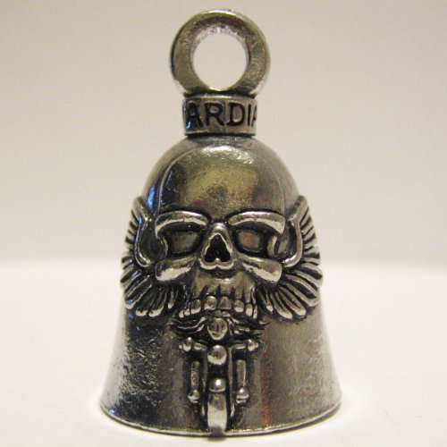 Guardian® Ghost Rider Skull on Motorcycle Biker Luck Gremlin Riding Bell or Key Ring