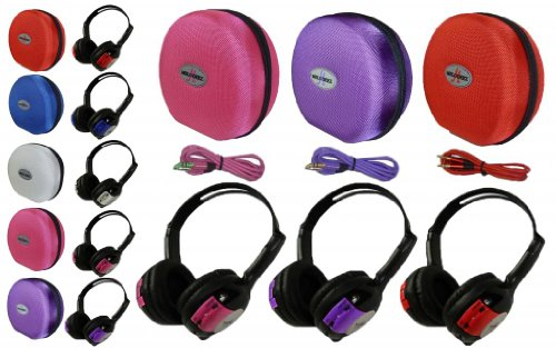 3 Pack Kid Sized Wireless Infrared Universal Car Dvd Ir Automotive Colored Adjustable 2 Channel Headphones With Case And 3.5Mm Auxiliary Cord