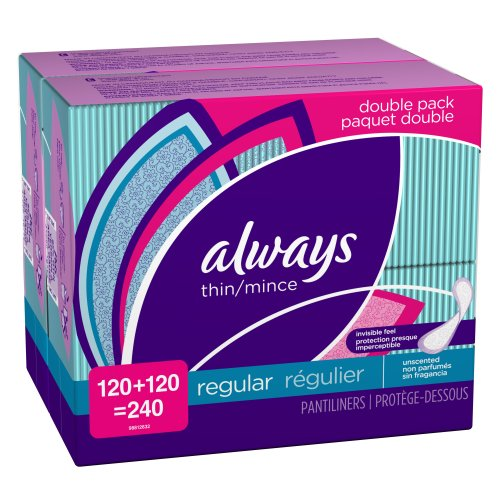 Always Large Count Pantiliner Thin Regular Unscented Non-wing 240 Count,