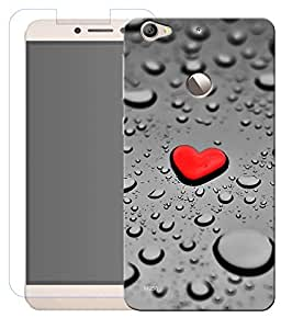 Combo of Red Heart HD UV Printed Mobile Back Cover and Tempered Glass For Letv Le 1S