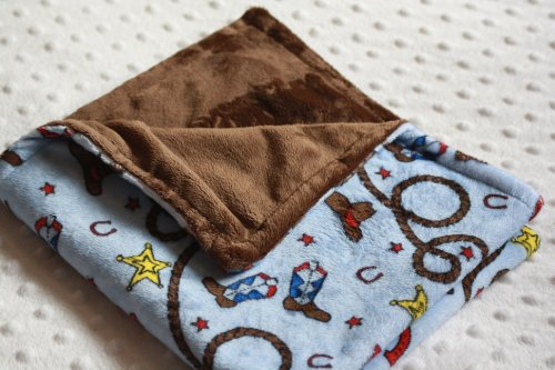 "Minky Blanket - Blue Rodeo/Western/Cowboy Print With Chocolate Brown - Small Newborn/Security Blanket (@17""X19"")"
