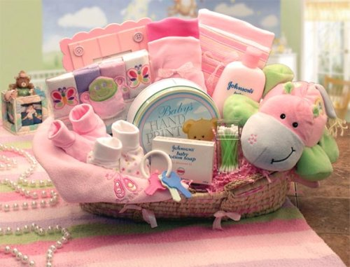 """""""Our Precious Baby"""" New Baby Carrier Gift Basket in Girl Pink or Boy Blue"""
