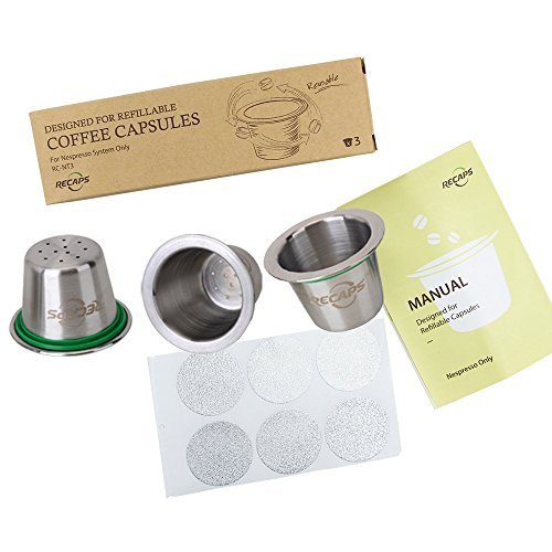 RECAPS Nespresso Stainless Steel Refillable Coffee Capsule (3 pods) + Aluminum Seals Sticker Lids (120pcs) Stainless Steel Refillable Nespresso Capsules Reusable for years (Nespresso Seal Pod compare prices)