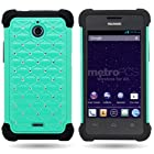 CoverON® Hybrid Dual Layer Diamond Case for Huawei Ascend Plus H881C / Valiant - Teal Hard Black Soft Silicone